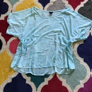 Torrid 1 fluttery summer blouse blue green teal